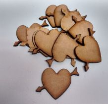 wooden craft HEART WITH ARROW  shapes, laser cut 3mm mdf embellishments